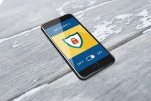 Internet Safety pic showing a mobile phone that has its security setting on
