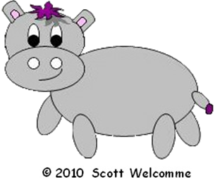 Harris the little grey hippo- Lead character from another one of Scott Welcomme's fun songs for children
