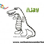 Image of a free colouring picture from Welcomme Wonderland based on Scott Welcomme's cheeky character Ajay the Alligator. Colour the alligator and sing along (Snap snap snap....)