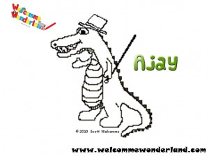 Image of a free colouring picture from Welcomme Wonderland. It's Ajay again with his top hat and cane ready to tap in time. Snap snap snap!