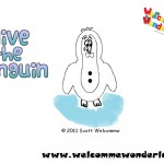 Image of a free colouring picture from Welcomme Wonderland based on Scott Welcomme's cheeky character Clive the Penguin. Go on! Colour in Clive!