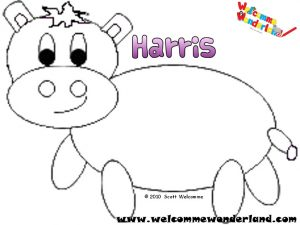 Image of a free colouring picture from Welcomme Wonderland based on Scott Welcomme's cute, loveable character Harris the little grey hippo. He's been grey, green and blue. Which colour will you choose next? Have fun and colour the hippo!