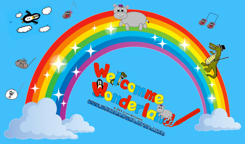 Welcomme Wonderland logo with characters from kids songs by Scott Welcomme including Harris the little grey Hippo, Ajay the alligator and Clive the Penguin
