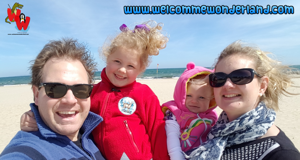 Image of Magical family memories at Sandbanks beach in Dorset. Laughter, fun and happiness from Welcomme Wonderland- home of Scott Welcomme's songs for kids.
