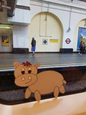 Picture of Harris the little grey hippo at Fulham Broadway tube station- another adventure for one of the cute, loveable characters by Scott Welcomme and his magical creation Welcomme Wonderland